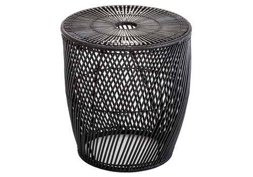 Fine Asianliving Side Table Wicker Abaca Handwoven Black D40xH44cm - Sogo