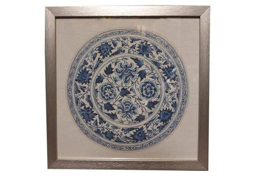 Fine Asianliving Tableau sur Toile Décoration Murale Chinois Encadré chinois en Porcelaine Assiette Bleu Blanc L35xP3xH35cm