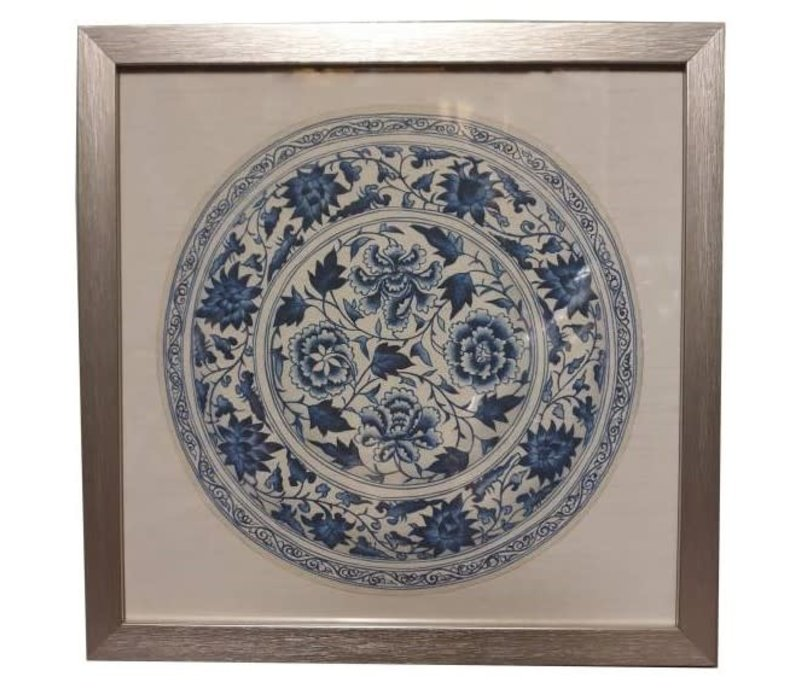 Chinese Painting with Frame Chinese Porcelain Plate Blue White W35xD3xH35cm