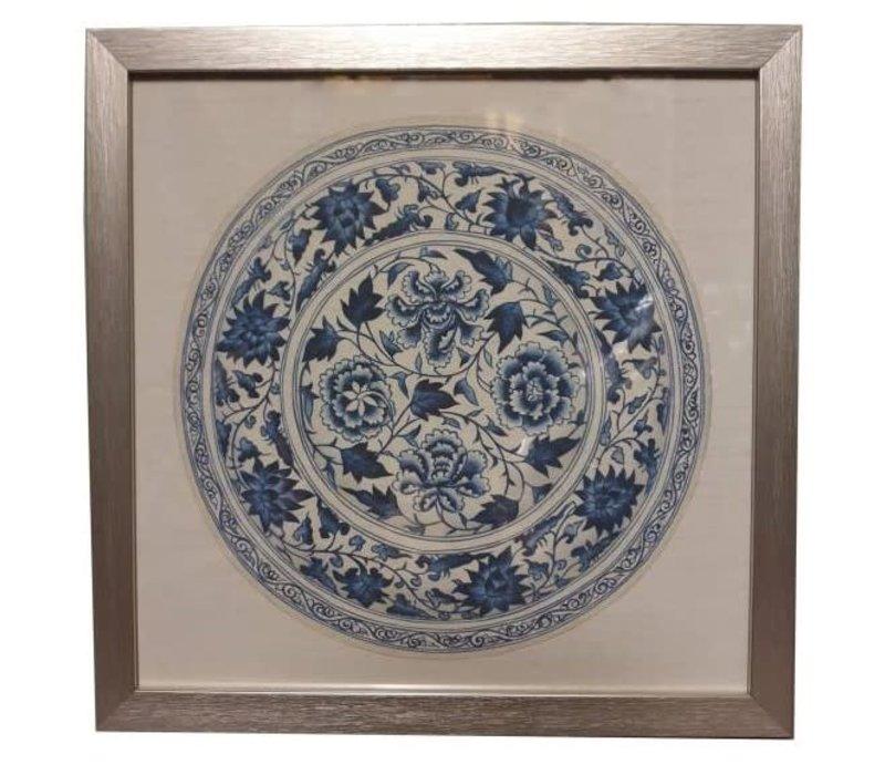 Tableau sur Toile Décoration Murale Chinois Encadré chinois en Porcelaine Assiette Bleu Blanc L35xP3xH35cm
