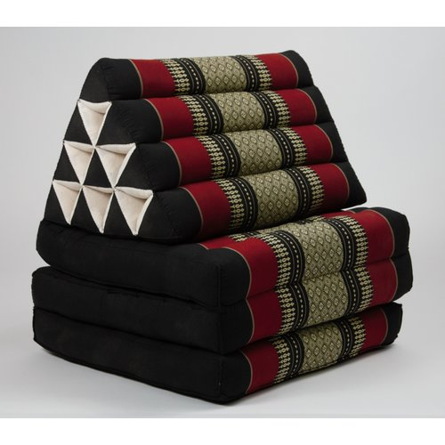 Fine Asianliving Thai Kissen mit Dreieck-Kissen 3 Auflagen Falt-Matratze Boden-Liege-Matte Sitzkissen Thaimatte Kapok Rot