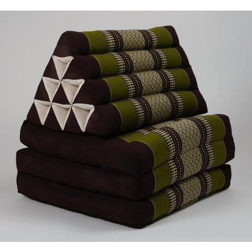 Fine Asianliving Thai Kissen mit Dreieck-Kissen 3 Auflagen Falt-Matratze Boden-Liege-Matte Sitzkissen Thaimatte Kapok Grün