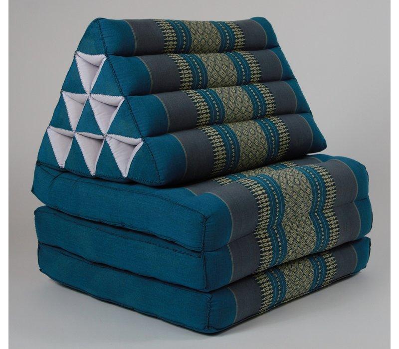 Fine Asianliving Thai Mattress Triangle Cushion Headrest 3-Fold Meditation Mat Lounge Kapok Blue
