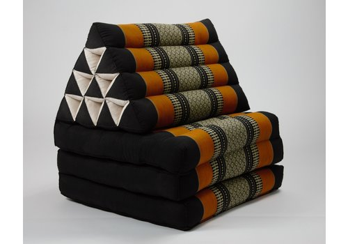 Fine Asianliving Fine Asianliving Thai Mattress Triangle Cushion Headrest 3-Fold Meditation Mat Lounge Kapok Black Orange