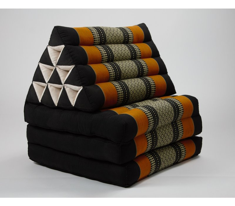 Fine Asianliving Thai Mattress Triangle Cushion Headrest 3-Fold Meditation Mat Lounge Kapok Black Orange