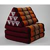 Fine Asianliving Fine Asianliving Thai Mattress Triangle Cushion Headrest 3-Fold Meditation Mat Lounge Kapok Burgundy Orange