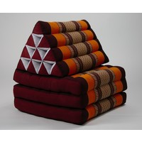Thai Mattress Triangle Cushion Headrest 3-Fold Meditation Mat Lounge Kapok Burgundy Orange