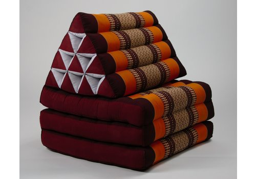 Fine Asianliving Fine Asianliving Thai Mattress Triangle Cushion Headrest 3-Fold Meditation Mat Lounge Kapok Burgundy Orange