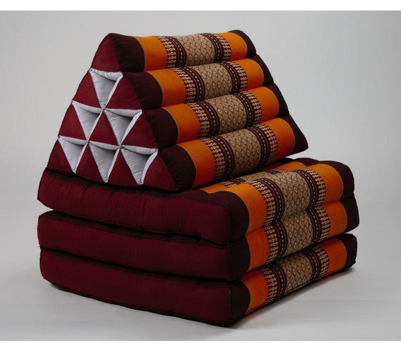 Fine Asianliving Thai Mattress Triangle Cushion Headrest 3-Fold Meditation Mat Lounge Kapok Burgundy Orange