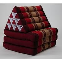 Coussin Thaï Triangulaire avec Matelas 3 Parties - 52x180cm - Bordeaux