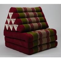 Coussin Thaï Triangulaire avec Matelas 3 Parties - 52x180cm - Rouge Vert