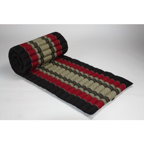 Fine Asianliving Rollbare Thai Sitzmatte 80x200cm aus Kapok Yoga Meditation Thaikissen Rot