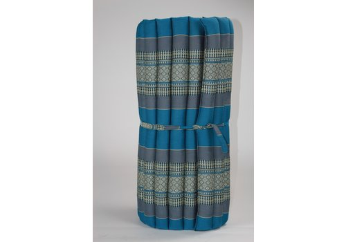 Fine Asianliving Fine Asianliving Rollbare Thai Sitzmatte 80x200cm aus Kapok Yoga Meditation Thaikissen Blau