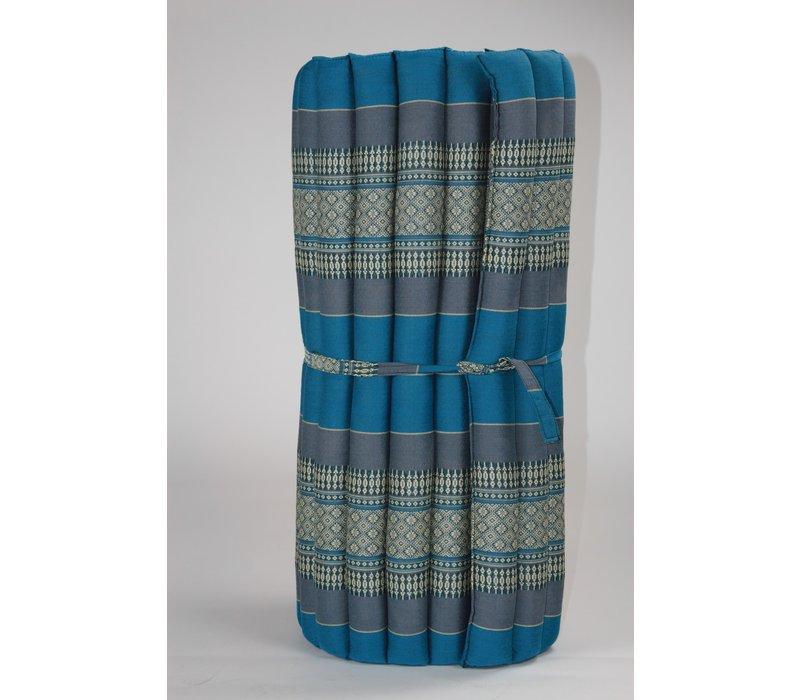 Fine Asianliving Rollbare Thai Sitzmatte 80x200cm aus Kapok Yoga Meditation Thaikissen Blau