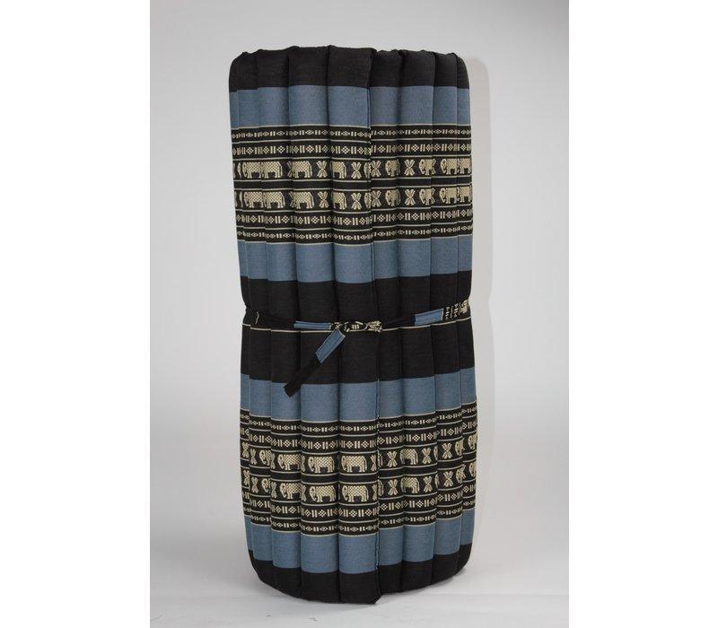 Thaimatte Rollbar Kapokfüllung 190x78x4.5cm Schwarz Elefanten