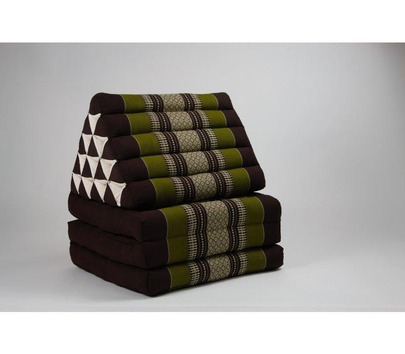 Thai Mattress Triangle Cushion Headrest 3-Fold Meditation Mat Jumbo Lounge Kapok XL Green