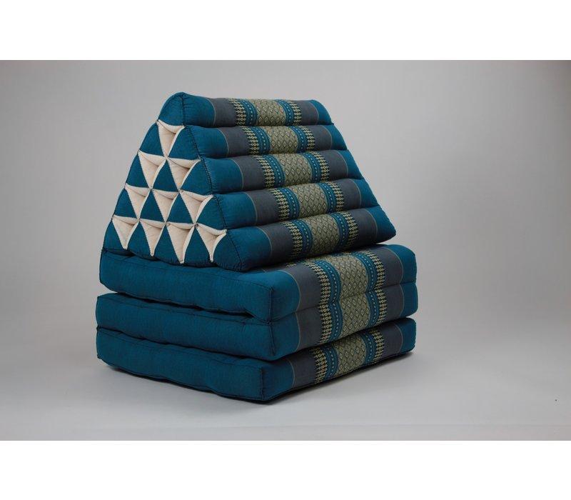 Thai Mattress Triangle Cushion Headrest 3-Fold Meditation Mat Jumbo Seat Kapok XL Blue