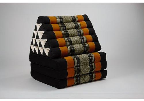 Fine Asianliving Thai Triangle Cushion Mattress Foldable XL Black Orange