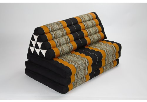 Fine Asianliving Thai Cushion Three-fold 80x190cm Triangle Cushion XXXL 8 Roll Seat Black Orange