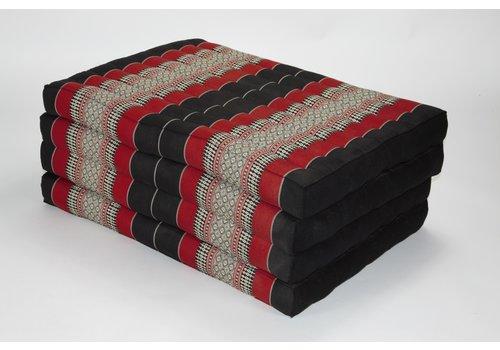 Fine Asianliving Thai Cushion Matress 4-folded 80x200cm Mat Cushion XXXL Black Red