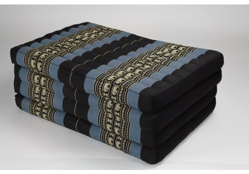 Fine Asianliving Thai Cushion Matress 4-folded 80x200cm Mat Cushion XXXL Black Elephants