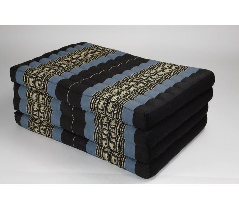 Thai Cushion Matress 4-folded 80x200cm Mat Cushion XXXL Black Elephants