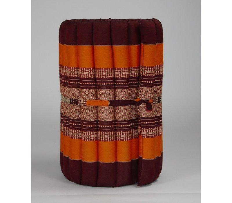 Matelas Thaï Enroulable en Coton et Kapok - 50x190cm - Orange
