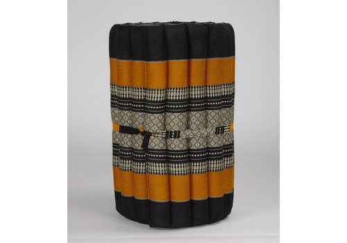 Fine Asianliving Thai Mat Rollable Matress 190x50x4.5cm Mat Cushion Black Orange