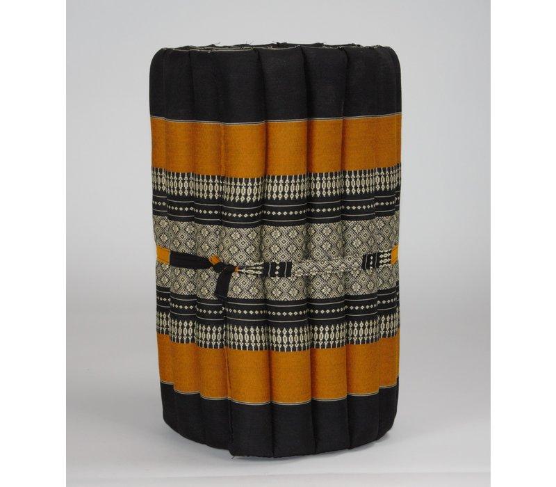 Thaimatte Rollbar Kapokfüllung 190x50x4.5cm Schwarz Orange