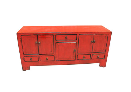 Fine Asianliving Antique Chinese TV Cabinet Red W138xD38xH62cm