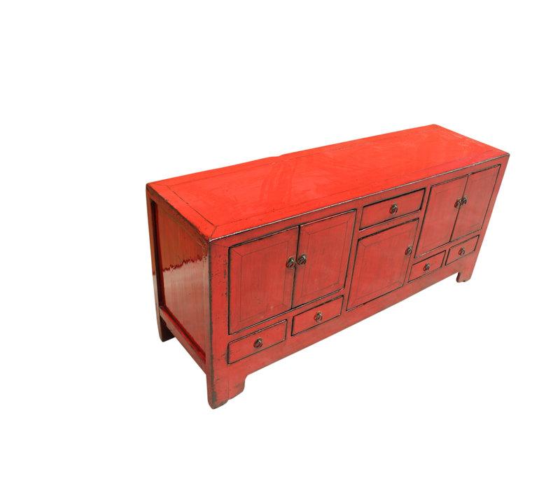 Mobile TV cinese antico, rosso L138xP38xA62 cm