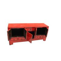 Antike Chinesische TV-Bank Rot B138xT38xH62cm