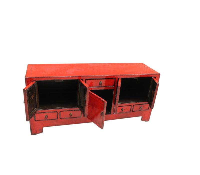 Meuble TV chinois antique rouge L138xP38xH62cm