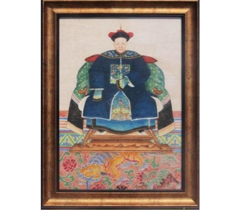 Chinese Voorouderportret Schilderij B50xH60cm Glicee Handmade B