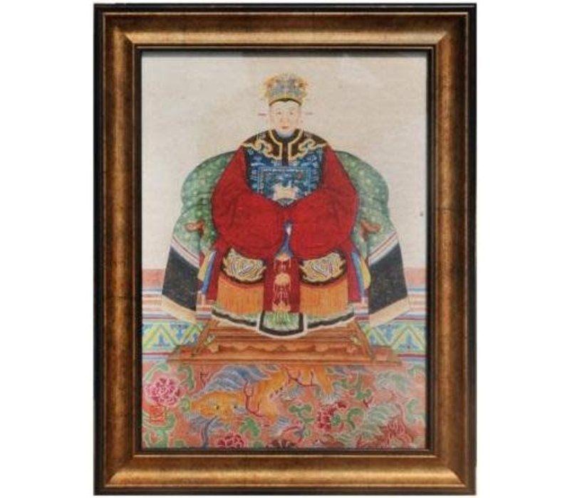 Tableau Chinois  Portrait d'Ancêtre Giclée Embelli à la Main L50xH60cm