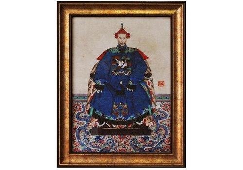 Fine Asianliving Tableau Chinois  Portrait d'Ancêtre Giclée Embelli à la Main L50xH60cm