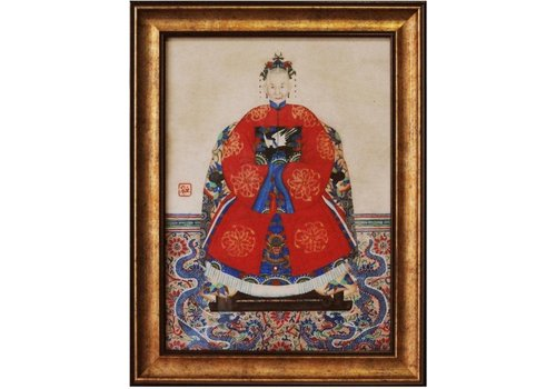 Fine Asianliving Chinese Voorouderportret Schilderij B50xH60cm Glicee Handmade Lady C