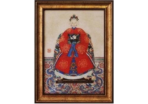 Fine Asianliving Chinese Voorouderportret Schilderij B50xH60cm Glicee Handgemaakt Lady C