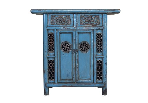 Fine Asianliving Antique Chinese Cabinet Denim Blue Handmade Carvings W101xD45xH97cm