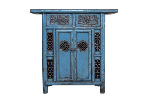 Fine Asianliving Armoire Chinoise Antique Bleue Main Découpages L101xP45xH97cm