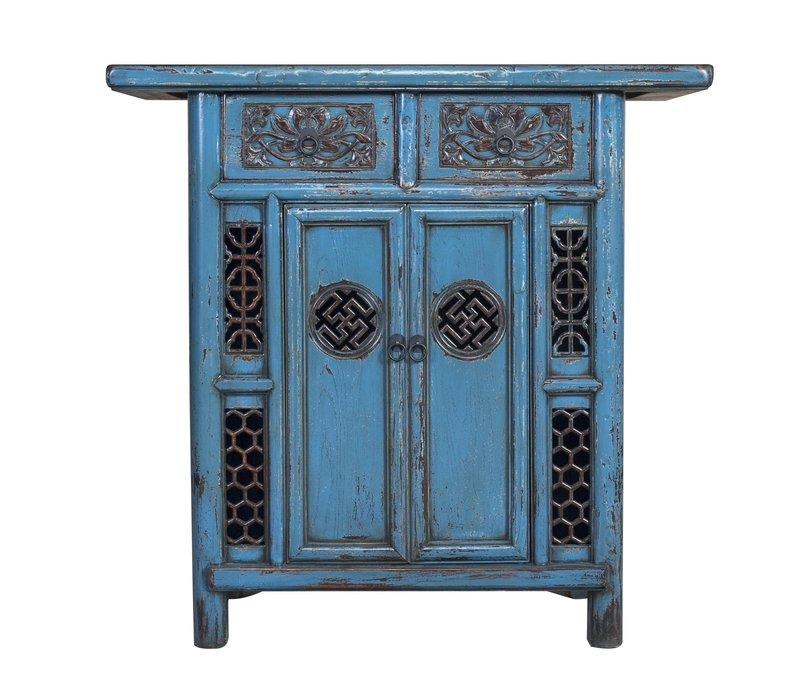 Antieke Chinese Kast Denim Blauw Handgesneden B101xD45xH97cm