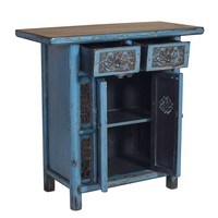 Antique Chinese Cabinet Denim Blue Handmade Carvings W101xD45xH97cm