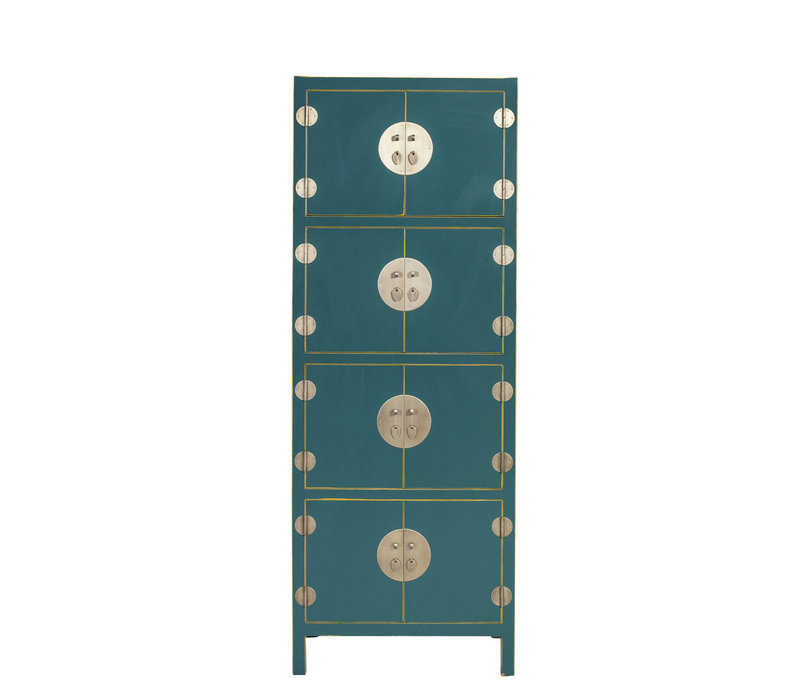 Chinese Kast Jade Teal Blauw B67xD45xH180cm - Orientique Collection