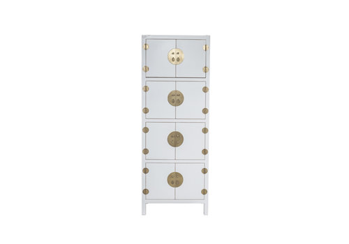 Fine Asianliving Chinese Kast Snow Wit B67xD45xH180cm - Orientique Collection