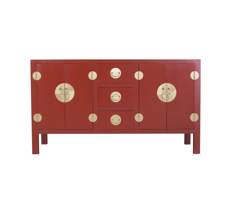 Chinesisches Sideboard Kommode Rubinrot - Orientique Sammlung B160xT50xH90cm