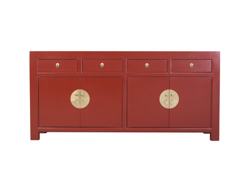 Fine Asianliving Credenza Cinese Rosso Rubino - Orientique Collezione L180xP40xA85cm