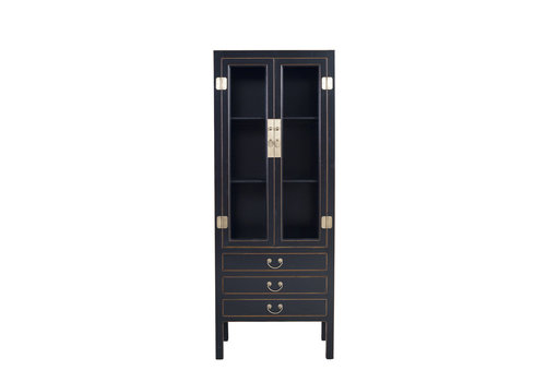 Fine Asianliving Chinese Bookcase Glass-Door Cabinet Onyx Black W70xD40xH182cm - Orientique Collection