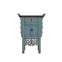 Chinese Console Table Blue Grey Handmade Carvings W58xD35xH84cm