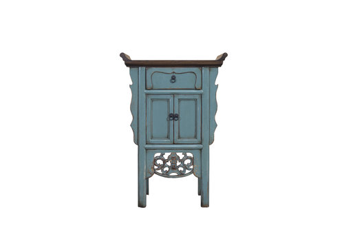 Fine Asianliving Chinese Console Table Blue Grey Handmade Carvings W58xD35xH84cm
