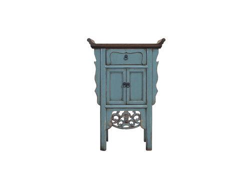 Fine Asianliving Table Console Chinoise Bleu Gris Fait Main L58xP35xH84cm